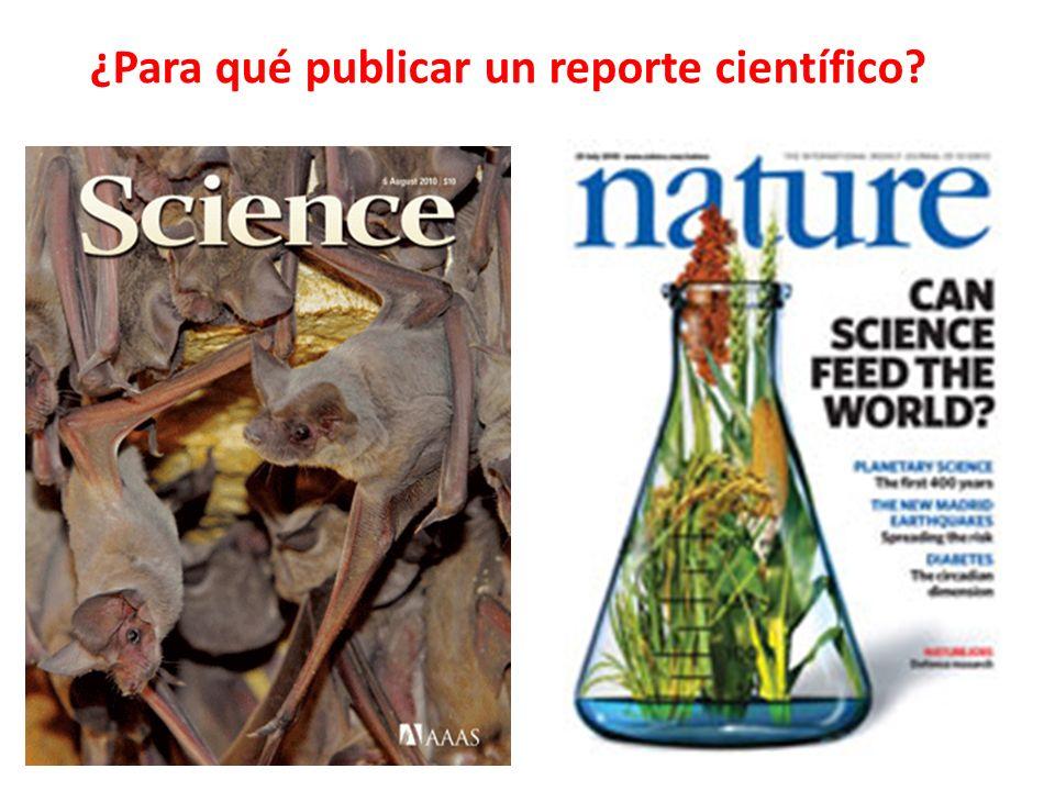 ¿Para qué publicar un reporte científico