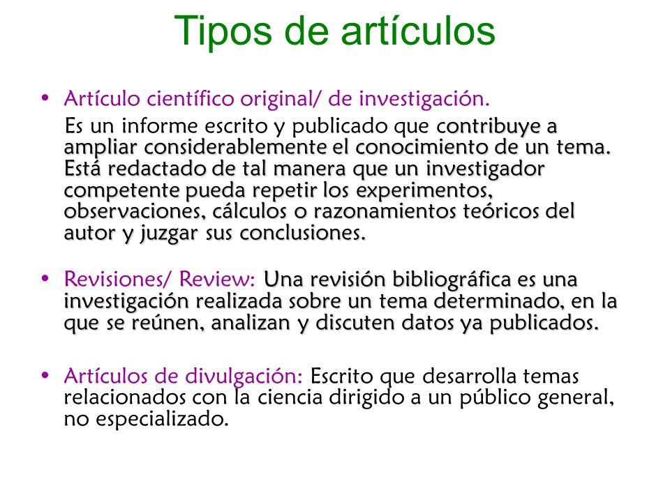 Tipos de artículos Artículo científico original/ de investigación.
