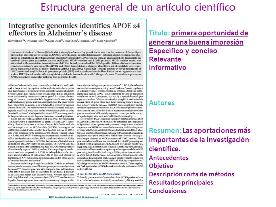 Estructura general de un artículo científico
