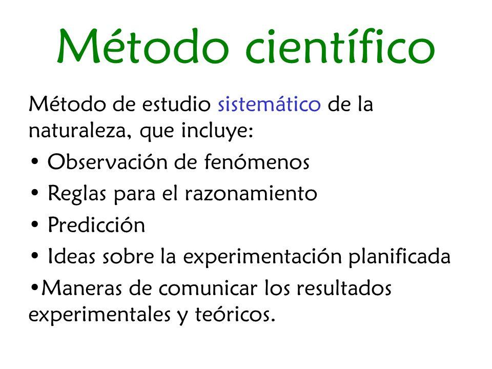 Método científico Método de estudio sistemático de la naturaleza, que incluye: Observación de fenómenos.