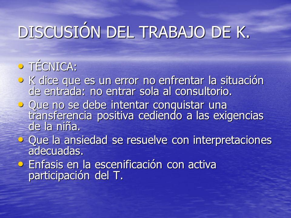 DISCUSIÓN DEL TRABAJO DE K.