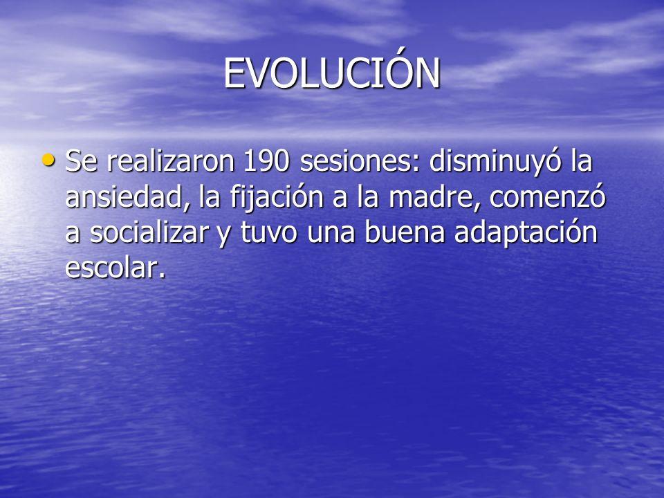 EVOLUCIÓN Se realizaron 190 sesiones: disminuyó la ansiedad, la fijación a la madre, comenzó a socializar y tuvo una buena adaptación escolar.