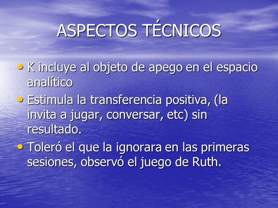 ASPECTOS TÉCNICOS K incluye al objeto de apego en el espacio analítico