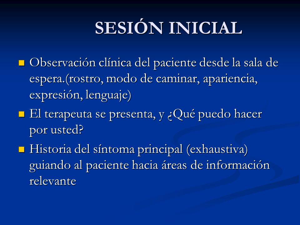 SESIÓN INICIAL Observación clínica del paciente desde la sala de espera.(rostro, modo de caminar, apariencia, expresión, lenguaje)