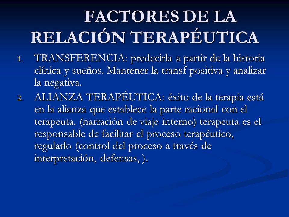 FACTORES DE LA RELACIÓN TERAPÉUTICA