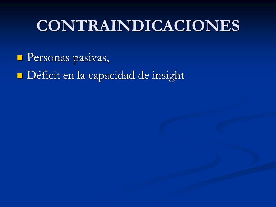 CONTRAINDICACIONES Personas pasivas,