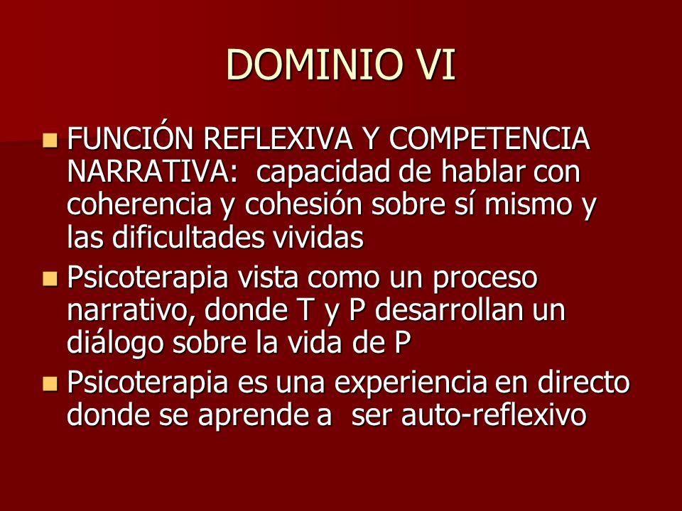 DOMINIO VI FUNCIÓN REFLEXIVA Y COMPETENCIA NARRATIVA: capacidad de hablar con coherencia y cohesión sobre sí mismo y las dificultades vividas.