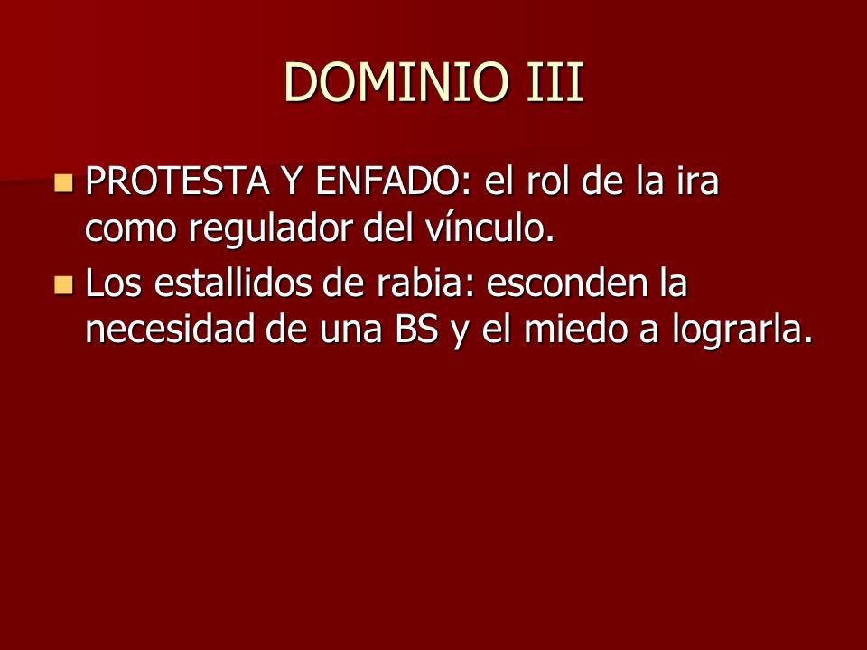 DOMINIO III PROTESTA Y ENFADO: el rol de la ira como regulador del vínculo.