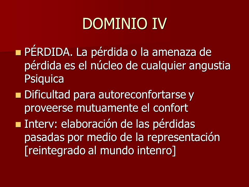 DOMINIO IV PÉRDIDA. La pérdida o la amenaza de pérdida es el núcleo de cualquier angustia Psiquica.