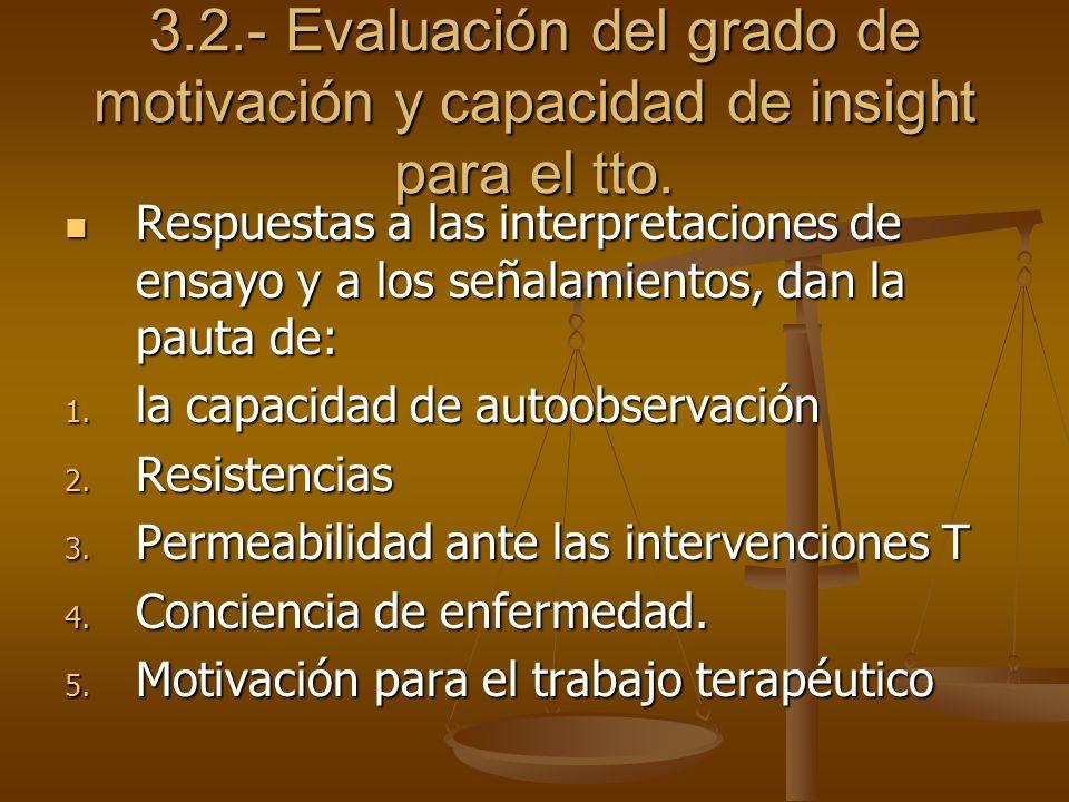 3.2.- Evaluación del grado de motivación y capacidad de insight para el tto.
