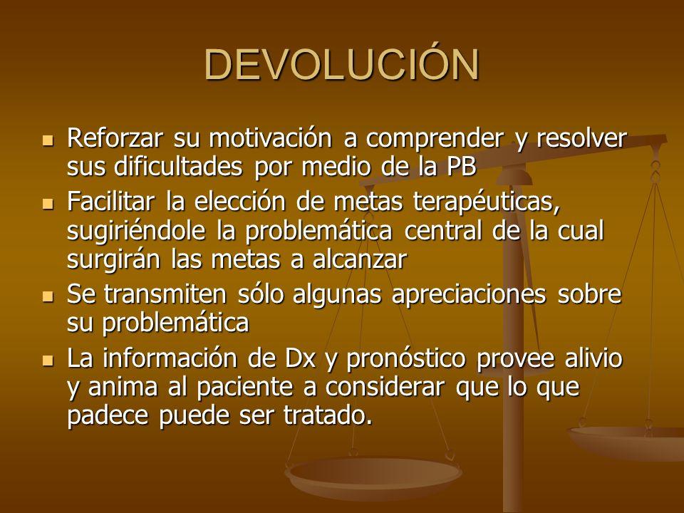 DEVOLUCIÓN Reforzar su motivación a comprender y resolver sus dificultades por medio de la PB.