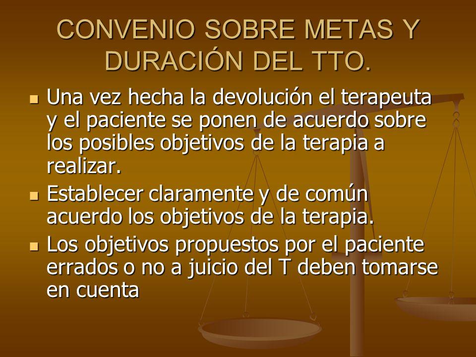 CONVENIO SOBRE METAS Y DURACIÓN DEL TTO.