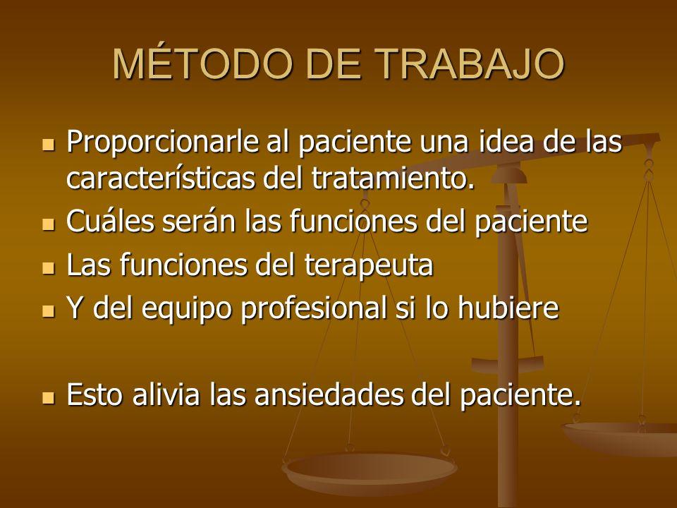 MÉTODO DE TRABAJO Proporcionarle al paciente una idea de las características del tratamiento. Cuáles serán las funciones del paciente.