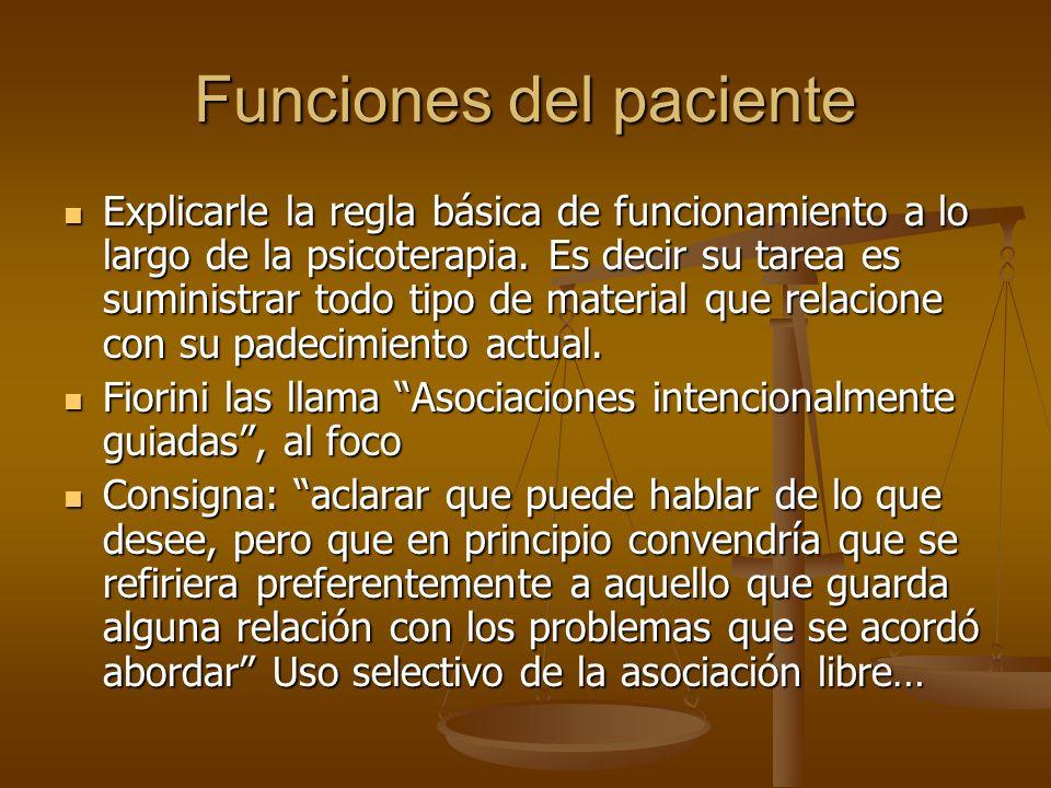 Funciones del paciente