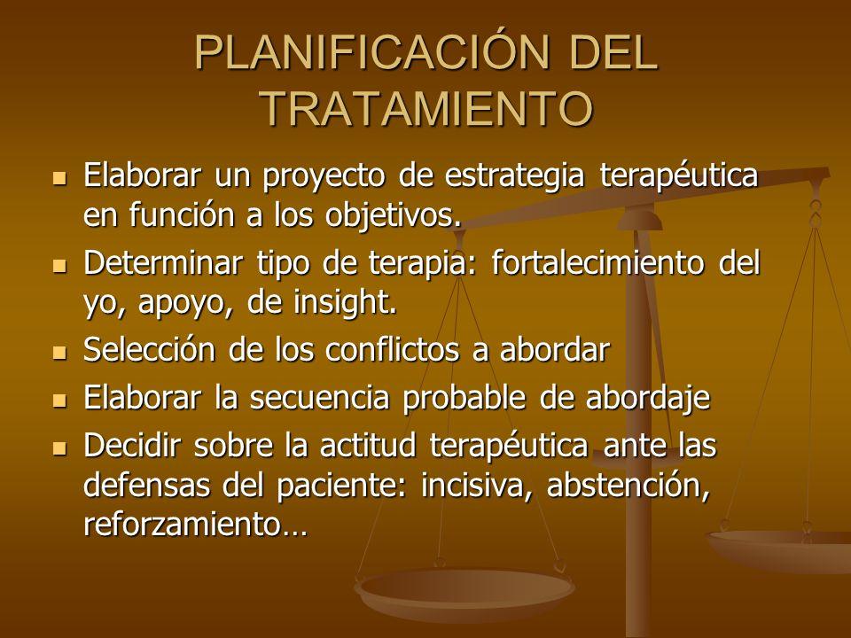 PLANIFICACIÓN DEL TRATAMIENTO