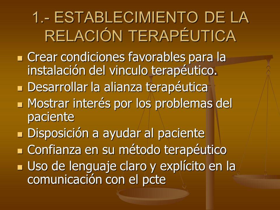 1.- ESTABLECIMIENTO DE LA RELACIÓN TERAPÉUTICA