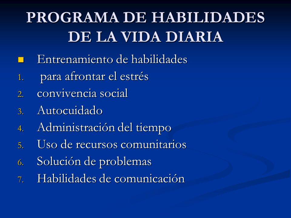 PROGRAMA DE HABILIDADES DE LA VIDA DIARIA