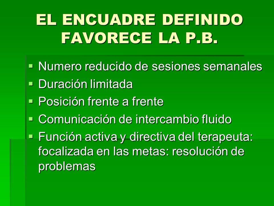 EL ENCUADRE DEFINIDO FAVORECE LA P.B.