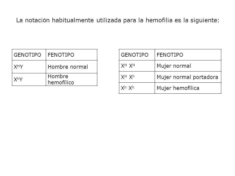 La notación habitualmente utilizada para la hemofilia es la siguiente: