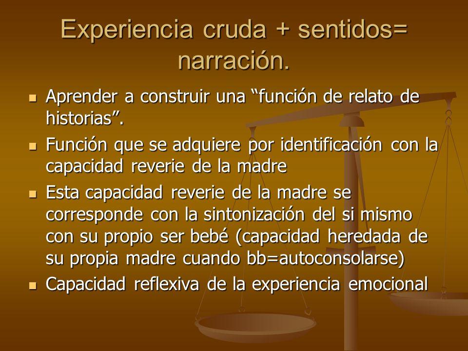 Experiencia cruda + sentidos= narración.