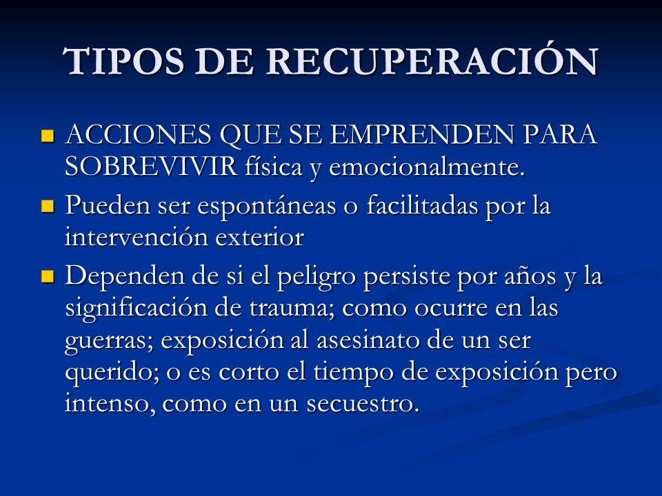 TIPOS DE RECUPERACIÓNACCIONES QUE SE EMPRENDEN PARA SOBREVIVIR física y emocionalmente.