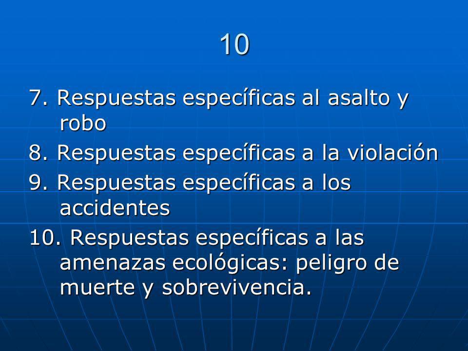 10 7. Respuestas específicas al asalto y robo