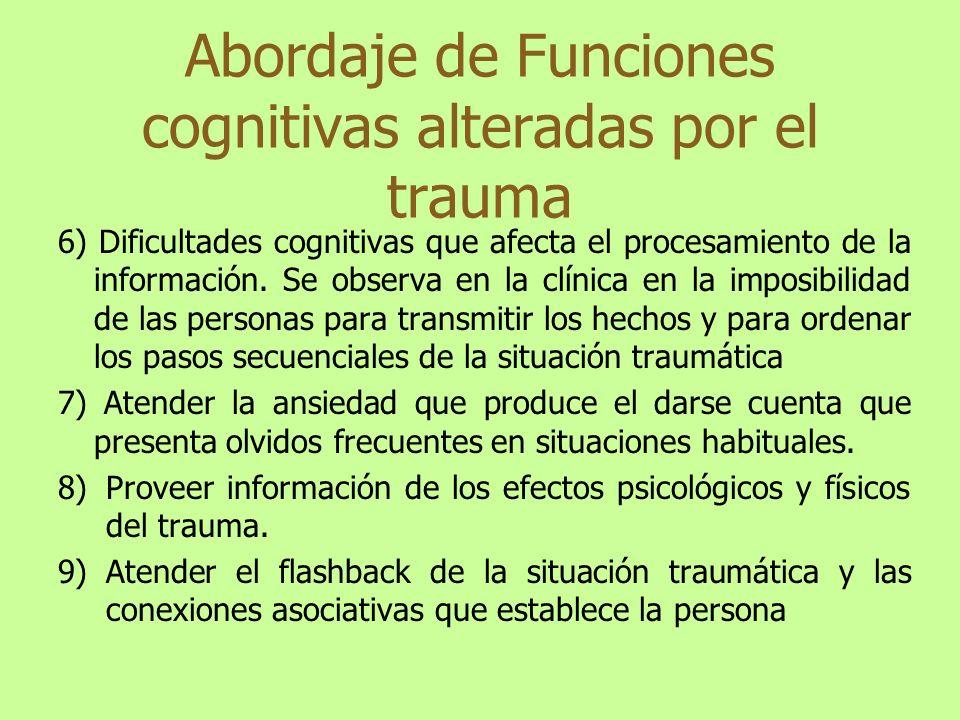 Abordaje de Funciones cognitivas alteradas por el trauma