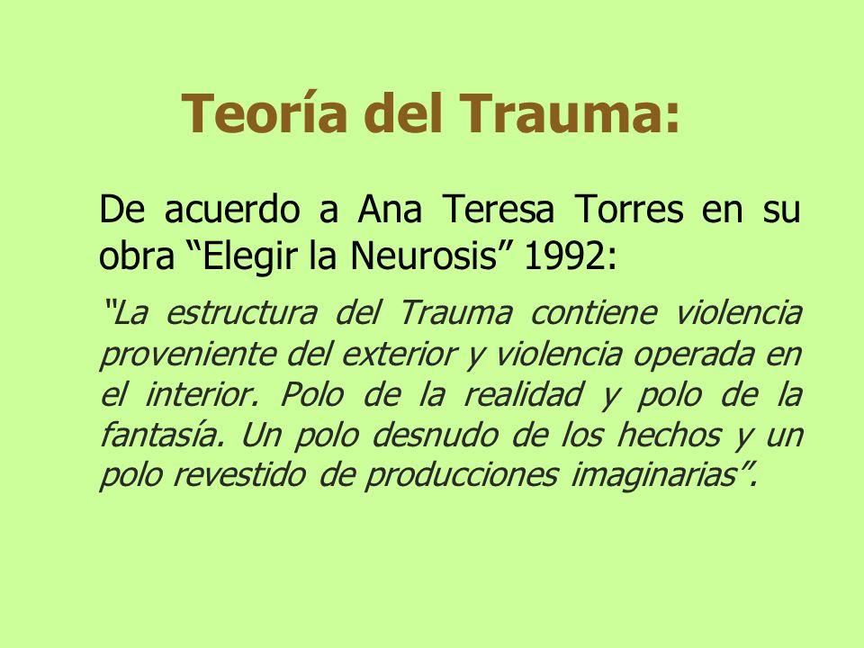 Teoría del Trauma: De acuerdo a Ana Teresa Torres en su obra Elegir la Neurosis 1992: