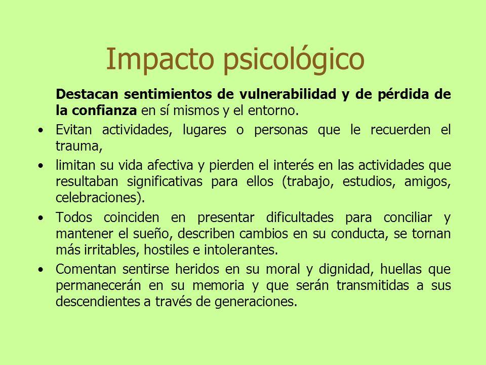 Impacto psicológico Destacan sentimientos de vulnerabilidad y de pérdida de la confianza en sí mismos y el entorno.