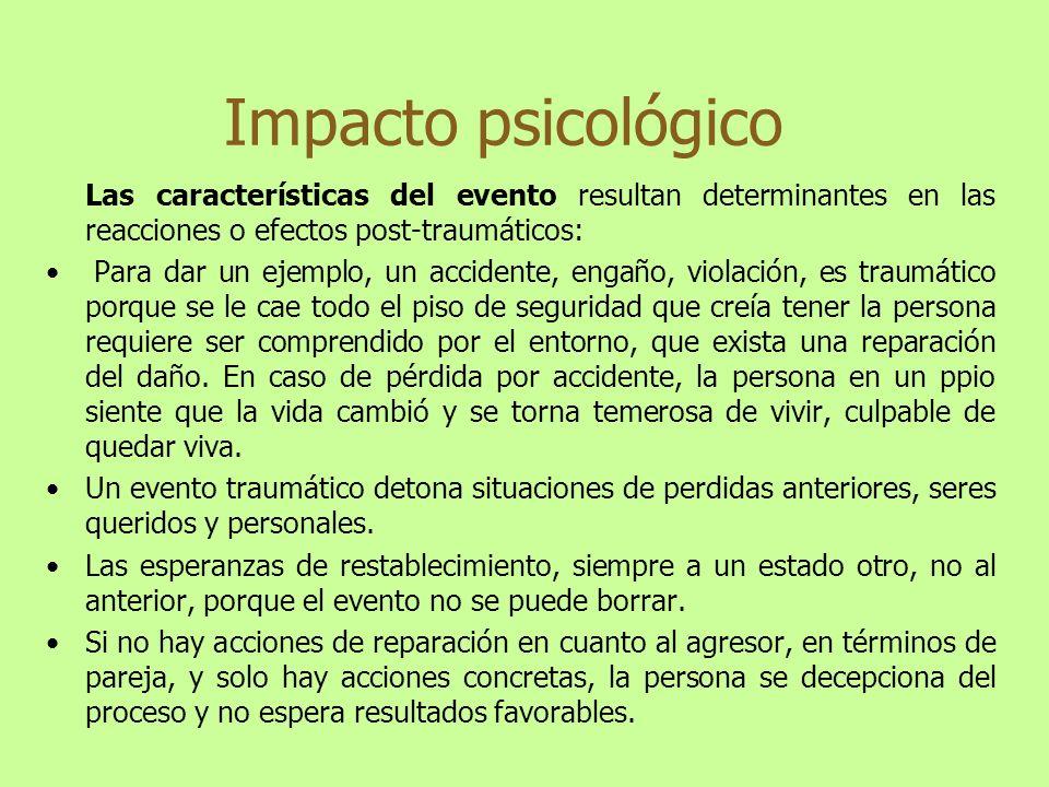 Impacto psicológico Las características del evento resultan determinantes en las reacciones o efectos post-traumáticos: