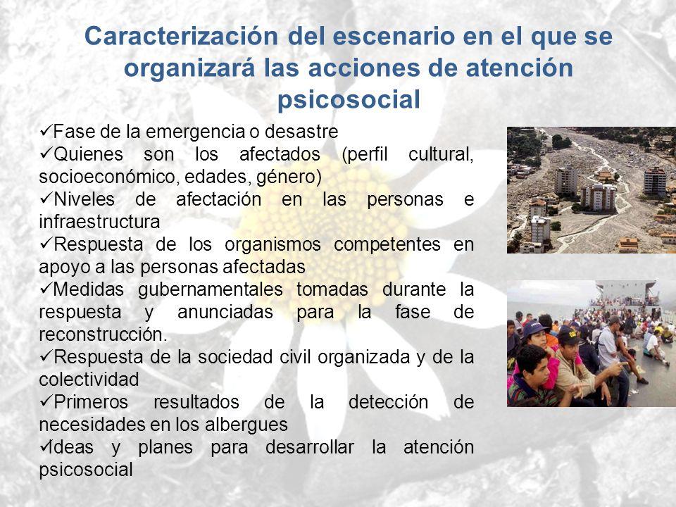 Caracterización del escenario en el que se organizará las acciones de atención psicosocial