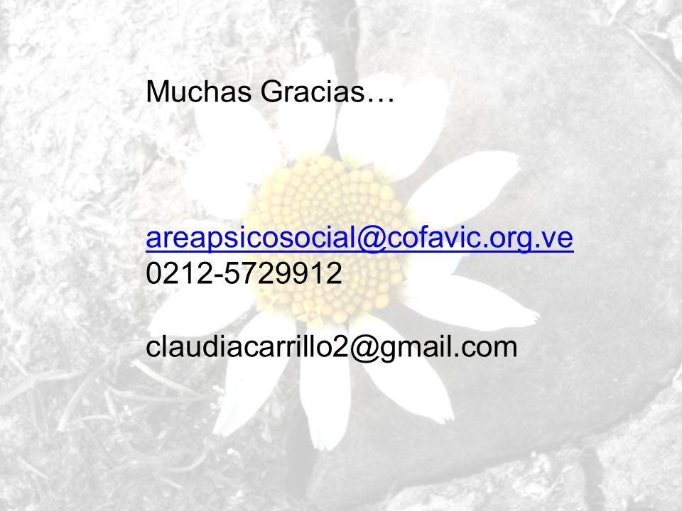 Muchas Gracias… areapsicosocial@cofavic.org.ve 0212-5729912 claudiacarrillo2@gmail.com