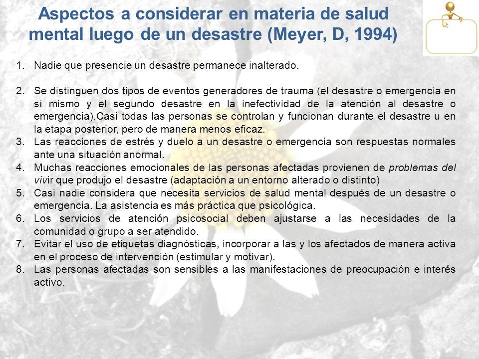 Aspectos a considerar en materia de salud mental luego de un desastre (Meyer, D, 1994)