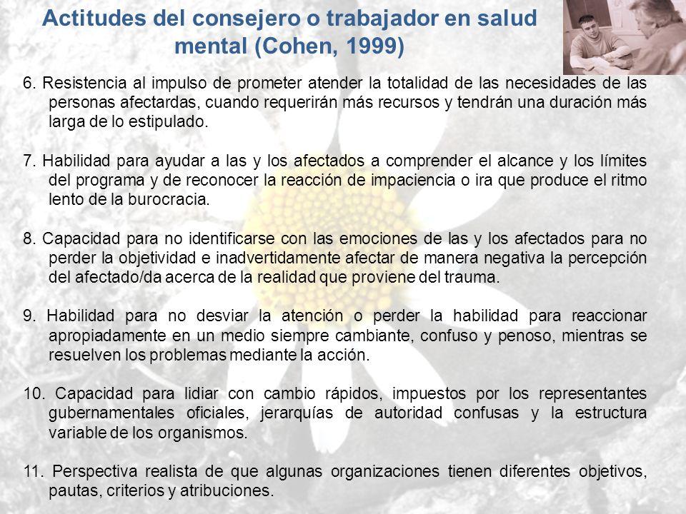 Actitudes del consejero o trabajador en salud mental (Cohen, 1999)