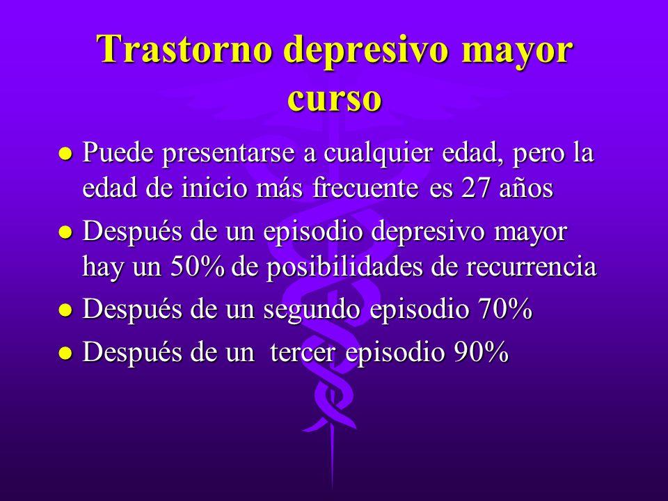 Trastorno depresivo mayor curso