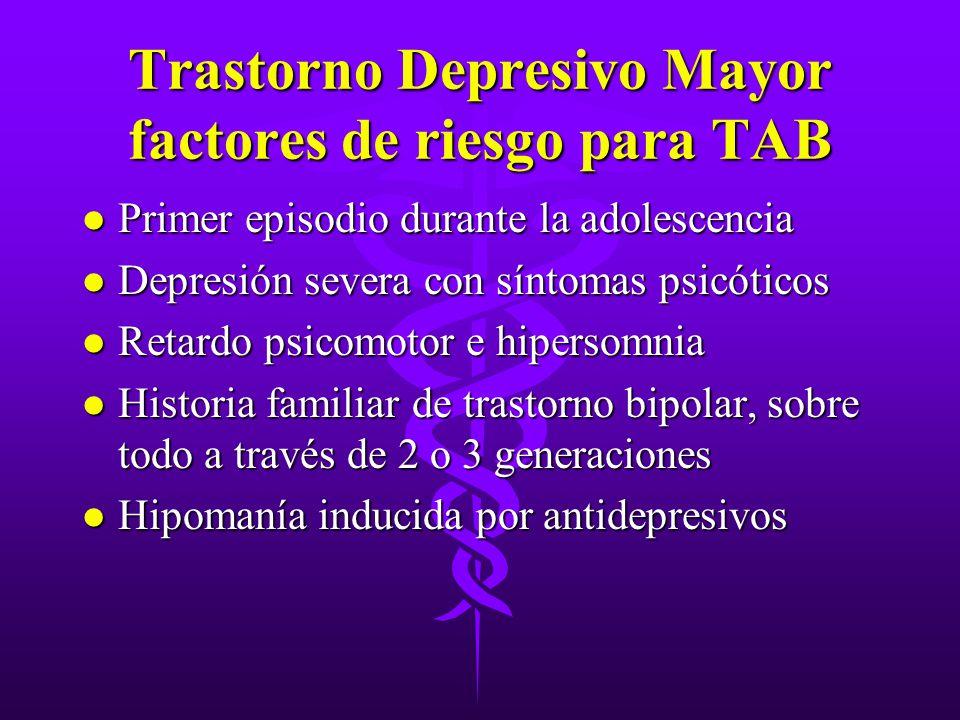 Trastorno Depresivo Mayor factores de riesgo para TAB