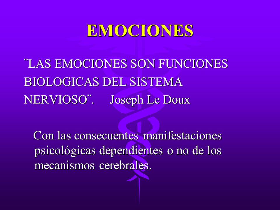 EMOCIONES ¨LAS EMOCIONES SON FUNCIONES BIOLOGICAS DEL SISTEMA
