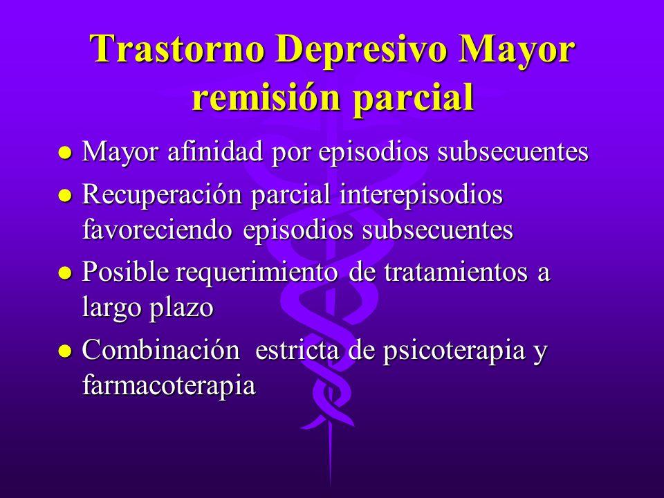 Trastorno Depresivo Mayor remisión parcial