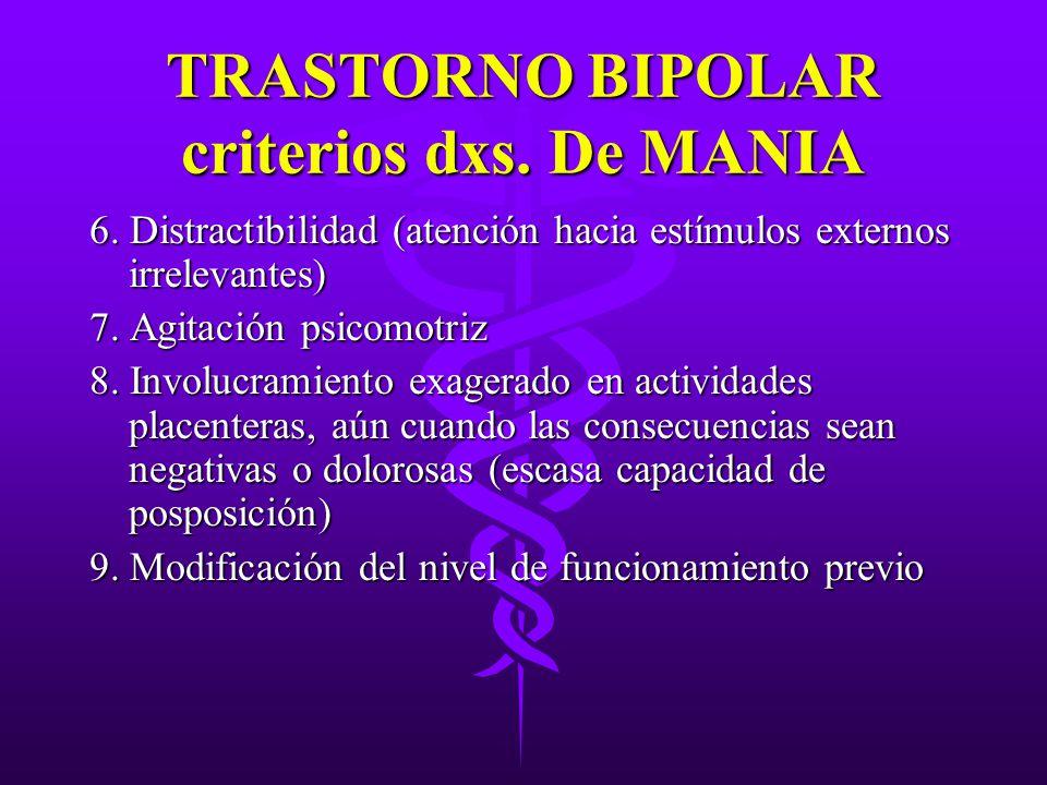 TRASTORNO BIPOLAR criterios dxs. De MANIA