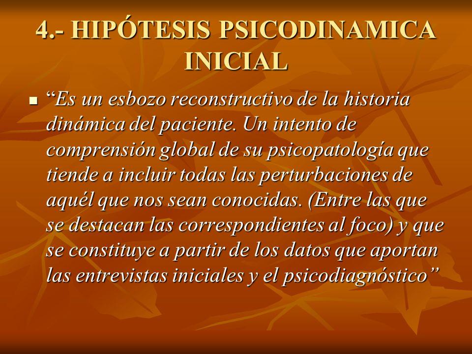 4.- HIPÓTESIS PSICODINAMICA INICIAL