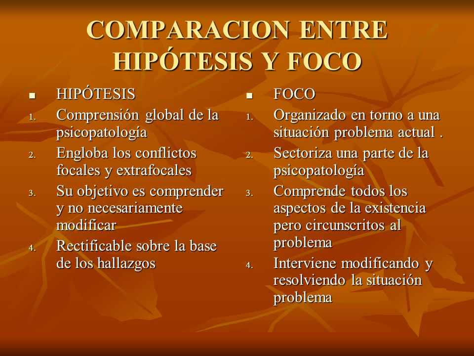 COMPARACION ENTRE HIPÓTESIS Y FOCO