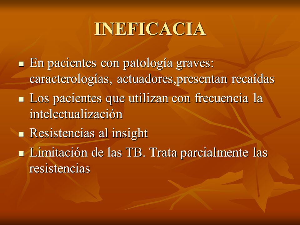 INEFICACIA En pacientes con patología graves: caracterologías, actuadores,presentan recaídas.