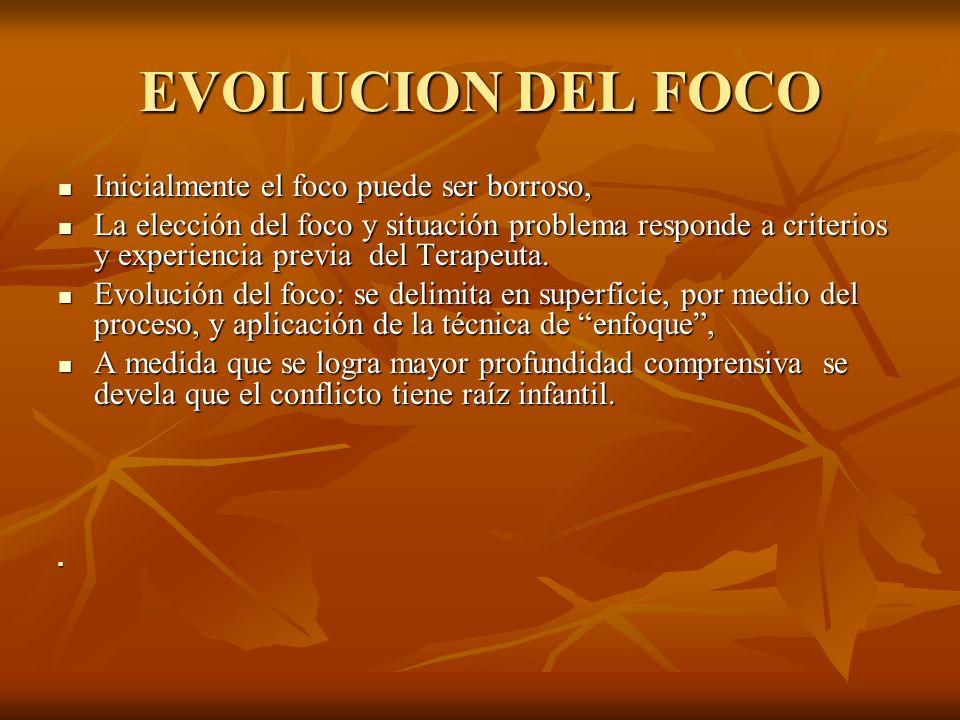 EVOLUCION DEL FOCO Inicialmente el foco puede ser borroso,
