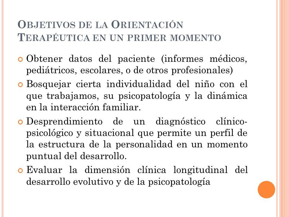 Objetivos de la Orientación Terapéutica en un primer momento