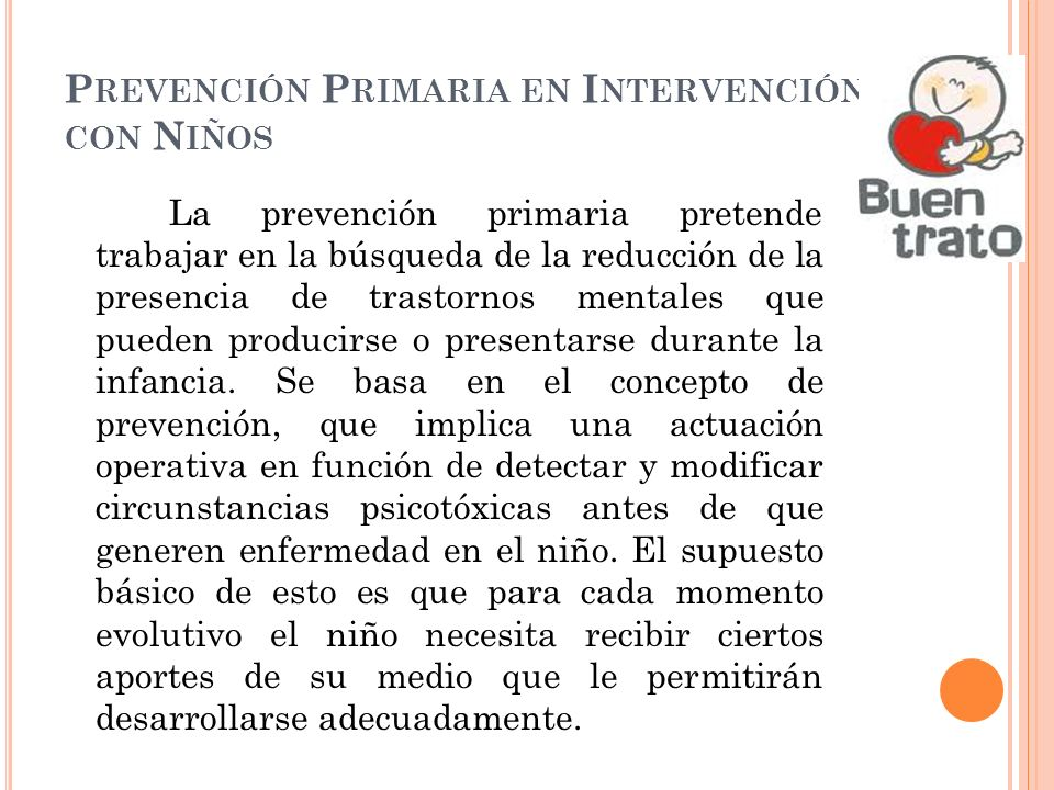 Prevención Primaria en Intervención con Niños