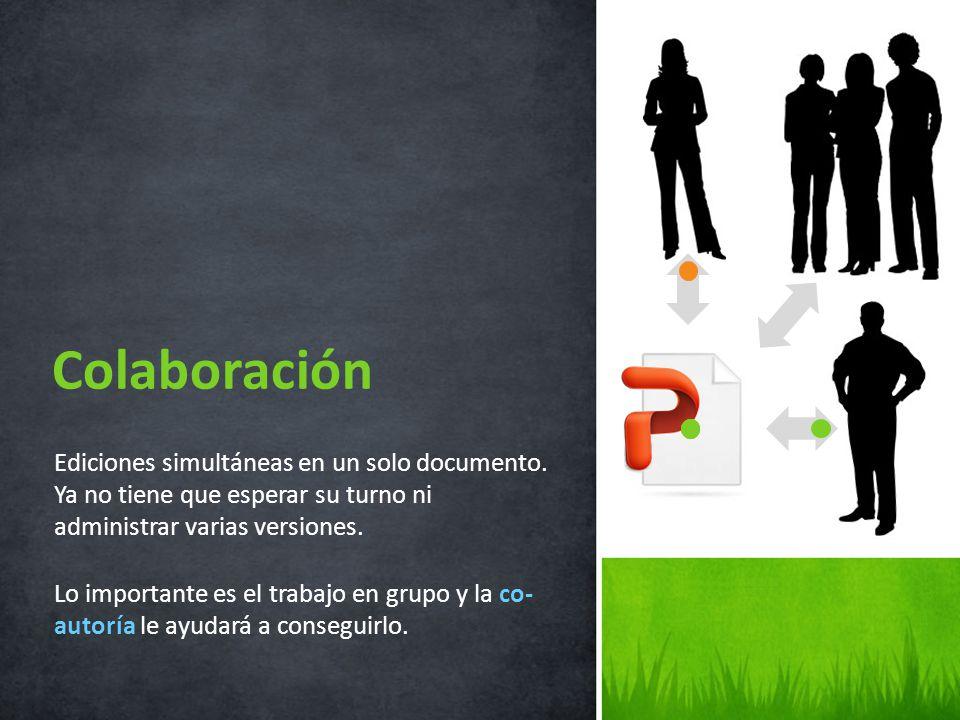 Colaboración Ediciones simultáneas en un solo documento. Ya no tiene que esperar su turno ni administrar varias versiones.