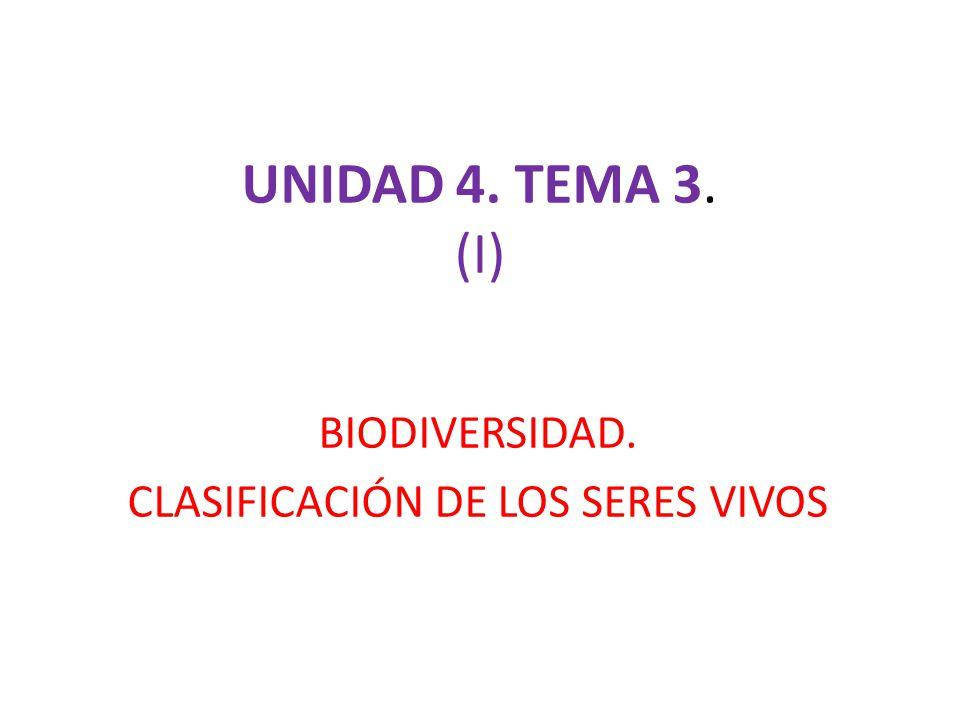 BIODIVERSIDAD. CLASIFICACIÓN DE LOS SERES VIVOS