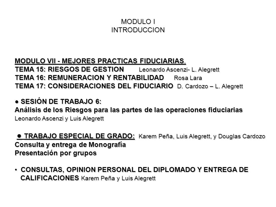 MODULO VII - MEJORES PRACTICAS FIDUCIARIAS.