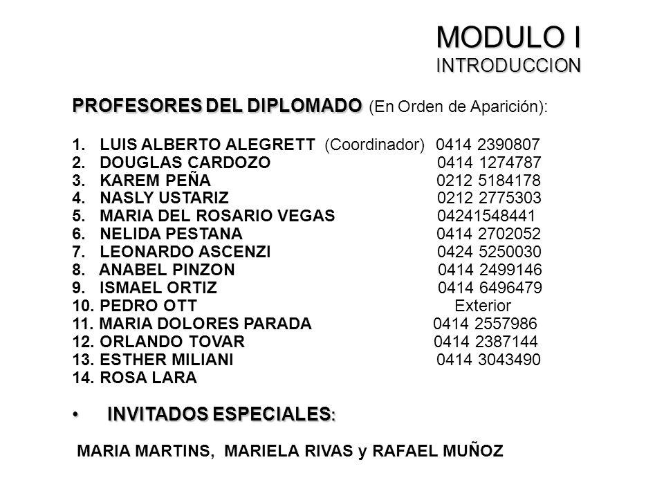 MODULO I INTRODUCCION PROFESORES DEL DIPLOMADO (En Orden de Aparición): 1. LUIS ALBERTO ALEGRETT (Coordinador) 0414 2390807.
