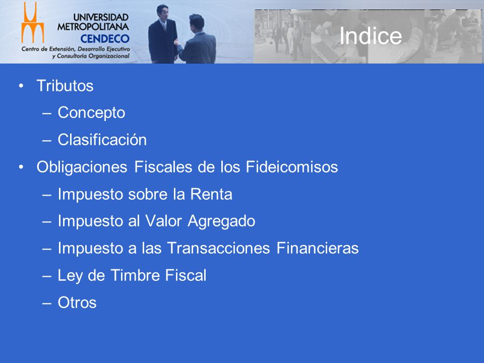 Indice Tributos Concepto Clasificación